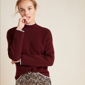 Anthropologie Burgundy Lizzie Mock Neck Sweater XS